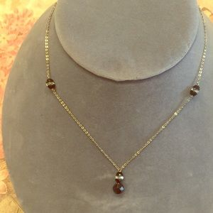 Vintage Onyx and Crystal Necklace